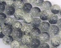"32"" CRACKLE GLASS  10MM ROUND  BEADS  GREY"